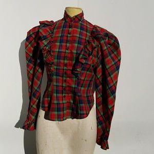 Vintage 70's Victorian Style Cut Plaid Blouse